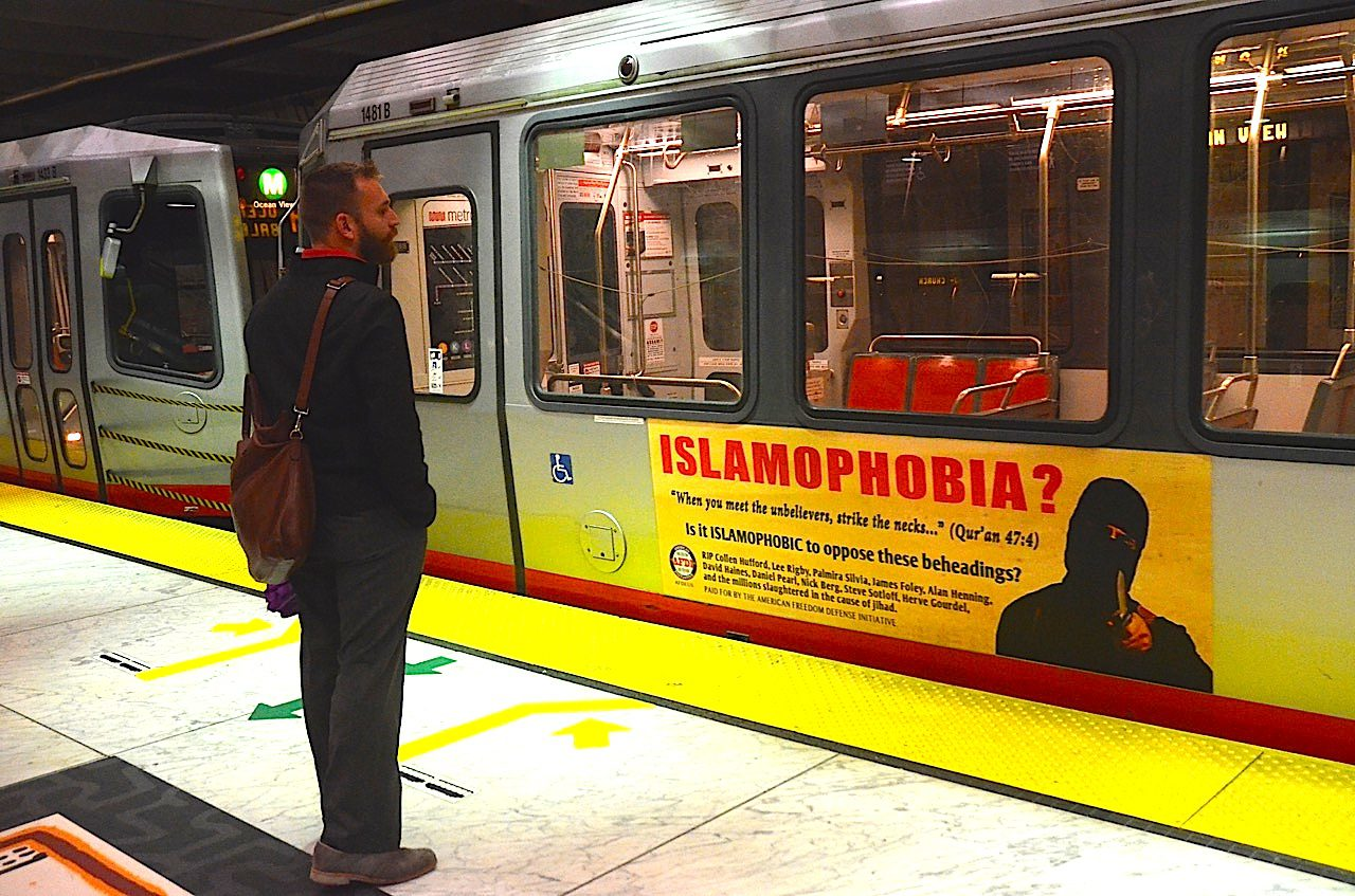 islamophobia ad train sf