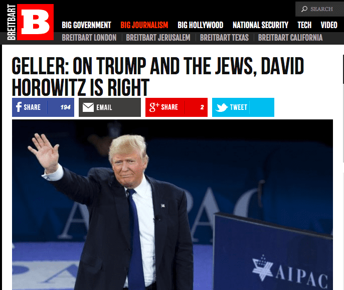 pamela geller  breitbart  on trump and the jews  david