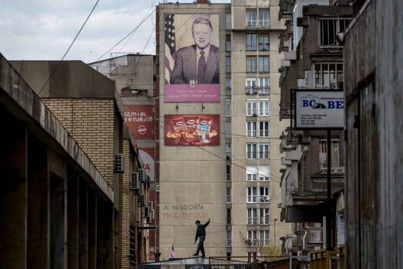 A portrait of Bill Clinton on a back street in Pristina near Bill Clinton Boulevard.